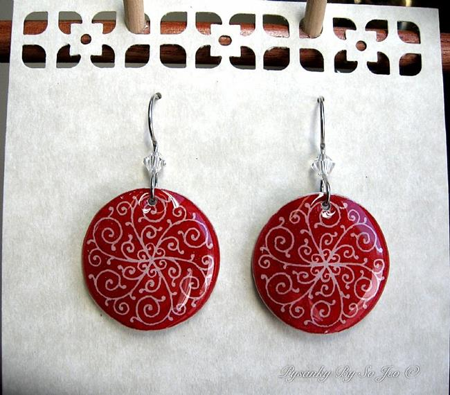 Art: Red Filigree Pysanky Batik Eggshell Earrings by Artist So Jeo LeBlond