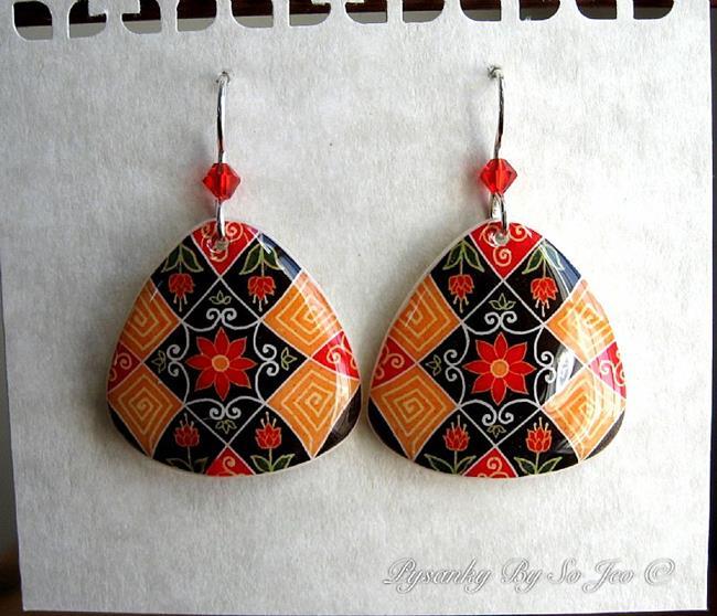 Art: Fall Florals Pysanky Batik Eggshell Earrings by Artist So Jeo LeBlond
