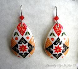 Art: Fall Florals Red & White Teardrop : Batik Pysanky Egg Shell Earrings by Artist So Jeo LeBlond