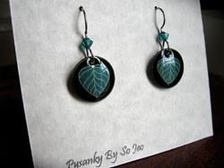 Art: Tiny Teal Leaves Dangle Earrings by Artist So Jeo LeBlond