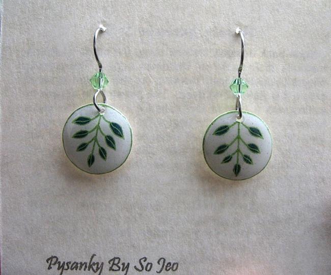 Art: Tiny Green Branches Dangle Earrings by Artist So Jeo LeBlond