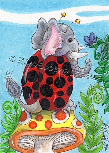 Art: Elephant Lady Bug & Friend by Artist Kim Loberg