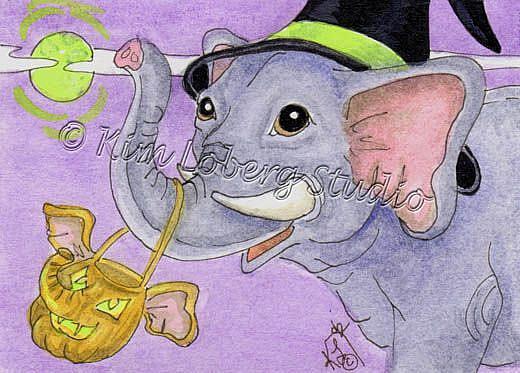 Art: Halloween Elephant Witch by Artist Kim Loberg