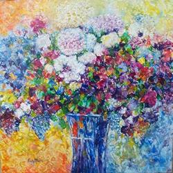 Art: Hydrangeas in a Bouquet - sold by Artist Ulrike 'Ricky' Martin
