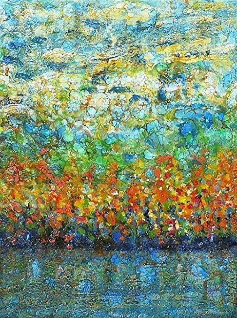 Art: Encaustic Landscape - sold by Artist Ulrike 'Ricky' Martin