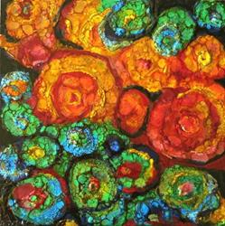 Art: Encaustic Circles Abstract by Artist Ulrike 'Ricky' Martin