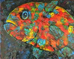 Art: Encaustic Fish by Artist Ulrike 'Ricky' Martin