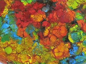 Detail Image for art Encaustic Abstract Flowers