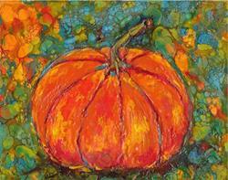 Art: Encaustic Pumpkin by Artist Ulrike 'Ricky' Martin