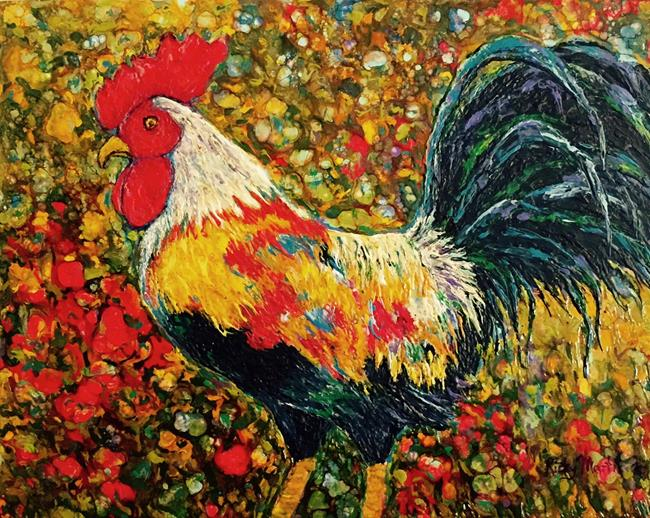 Art: Encaustic Rooster by Artist Ulrike 'Ricky' Martin
