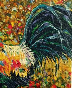 Detail Image for art Encaustic Rooster