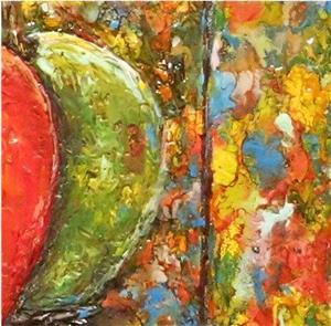 Detail Image for art Encaustic Apple Still Life