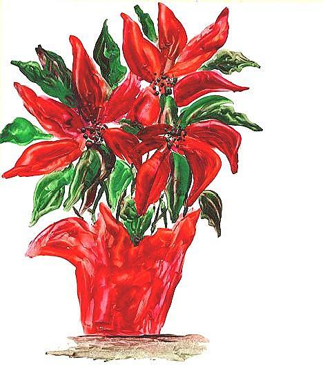 Art: Potted Poinsettia  ( sold ) by Artist Ulrike 'Ricky' Martin