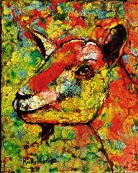 Art: Abstract Goat Portrait by Artist Ulrike 'Ricky' Martin