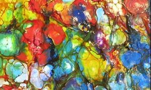 Detail Image for art Encaustic Flower Painting