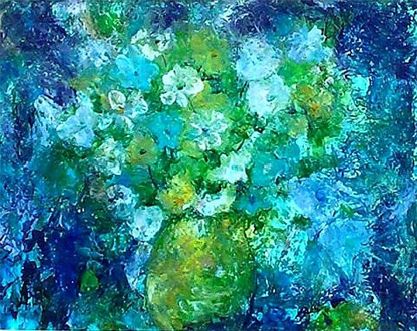 Art: Abstract Floral Bouquet - sold by Artist Ulrike 'Ricky' Martin