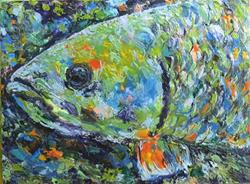 Art: Encaustic Fish Portrait by Artist Ulrike 'Ricky' Martin