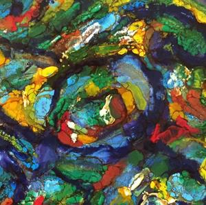Detail Image for art Encaustic Abstract Swirls