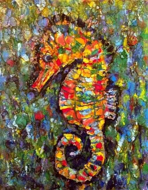 Art: Encaustic Seahorse Abstract by Artist Ulrike 'Ricky' Martin