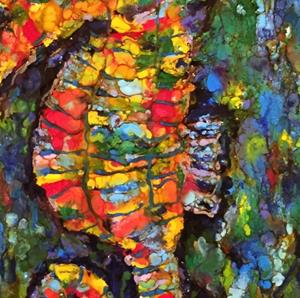 Detail Image for art Encaustic Seahorse Abstract