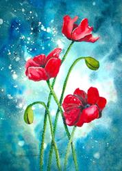 Art: Enchanted Poppies by Artist Melanie Pruitt