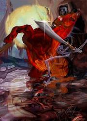 Art: red horse fin flat rev lr.jpg by Artist Alma Lee