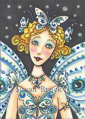 Art: ELECTRIC BLUE BUTTERFLY NYMPH by Artist Susan Brack
