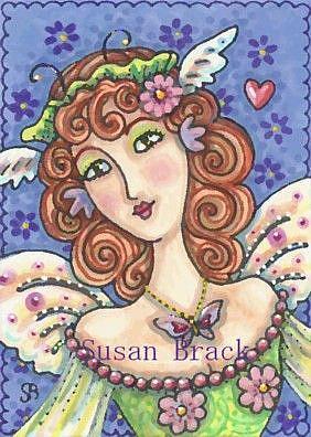 Art: FLUTTERING FAIRIES GIVE BUTTERFLY KISSES by Artist Susan Brack