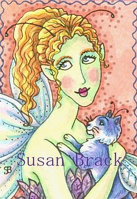 Art: FAIRY AND HER FLYING FELINE by Artist Susan Brack