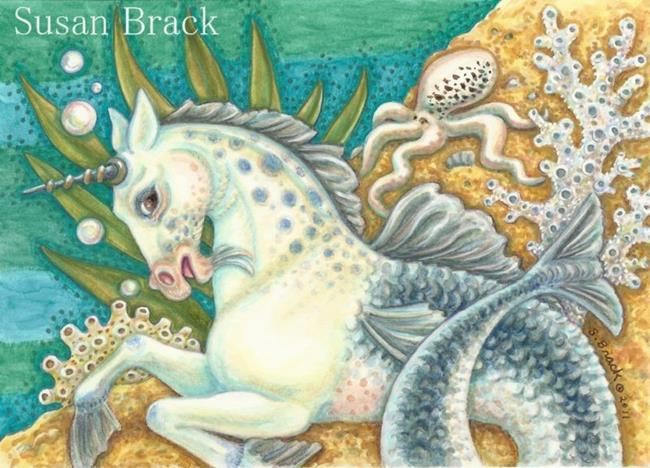 Art: MERHORSE AND WHITE OCTOPUS by Artist Susan Brack