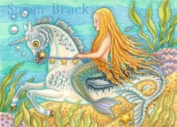 Art: MERMAID AND SEA STALLION by Artist Susan Brack