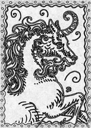 Art: SEPIA DOODLE UNICORN CURLY HORN - Stamp by Artist Susan Brack