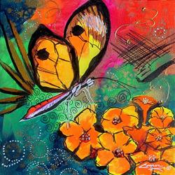 Art: BUTTERFLY ON THE EDGE.JPG by Artist Dottie Cooper Katz