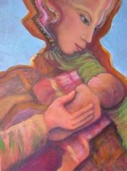 Art: Mother and Child by Artist Virginia Ann Zuelsdorf