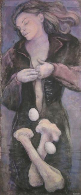 Art: Woman with Eggs and Bones by Artist Virginia Ann Zuelsdorf