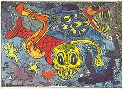 Art: BIOLUMINESCENCE SEA MONSTERS by Artist Theodora Demetriades