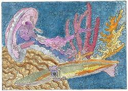 Art: 'SQUID AND FRIEND by Artist Theodora Demetriades