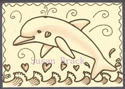 Art: SEPIA DOODLE DOLPHIN by Artist Susan Brack