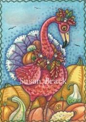 Art: PUMPKINS N' TURKEY FEATHERS by Artist Susan Brack