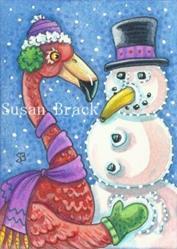 Art: SNOWMAN FLAMINGO STYLE by Artist Susan Brack