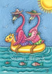 Art: PINK FLAMINGOS AFLOAT by Artist Susan Brack