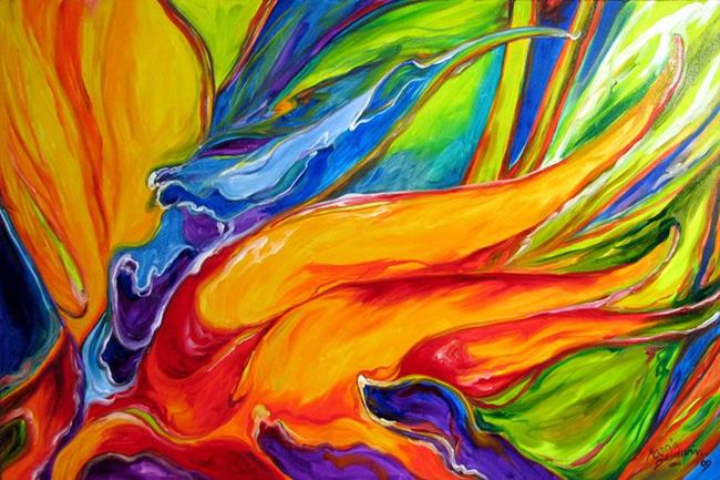 Art: Abstraction of the Bird Of Paradise by Artist Marcia Baldwin