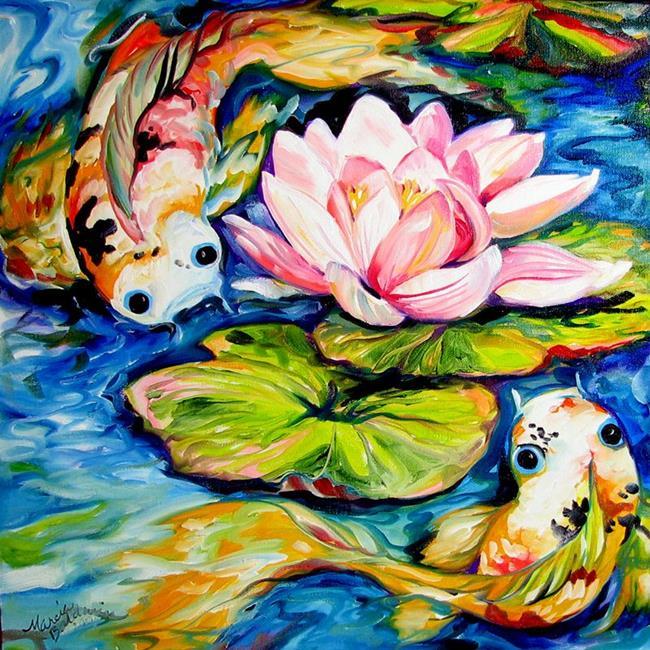 Art: WATERLILY & 2 KOI by Artist Marcia Baldwin