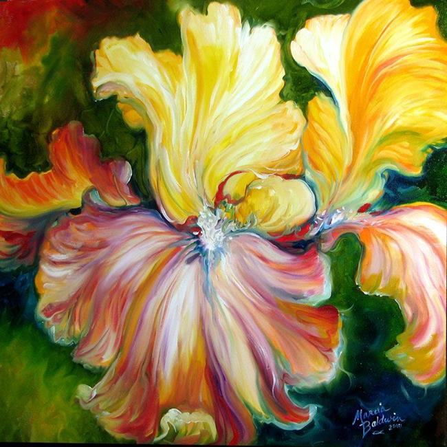 Art: GOLD & RED IRIS ABSTRACT by Artist Marcia Baldwin