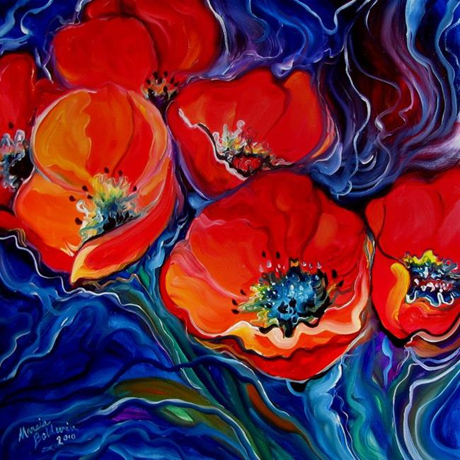 RED FLORAL ABSTRACT POPPY - by Marcia Baldwin from FLORALS