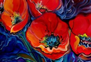 Detail Image for art RED FLORAL ABSTRACT POPPY