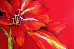 Art: RED AMARYLLIS ABSTRACT by Artist Marcia Baldwin