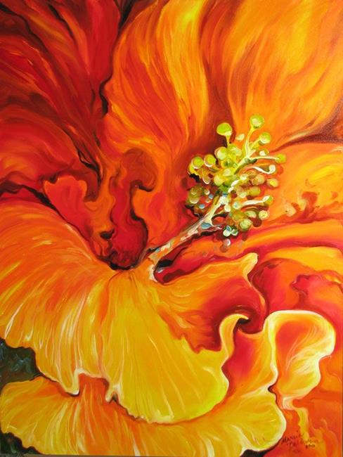 Art: HIBISCUS FLAME ~ FLORAL ABSTRACT by Artist Marcia Baldwin