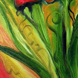 Detail Image for art RED IRIS ABSTRACT