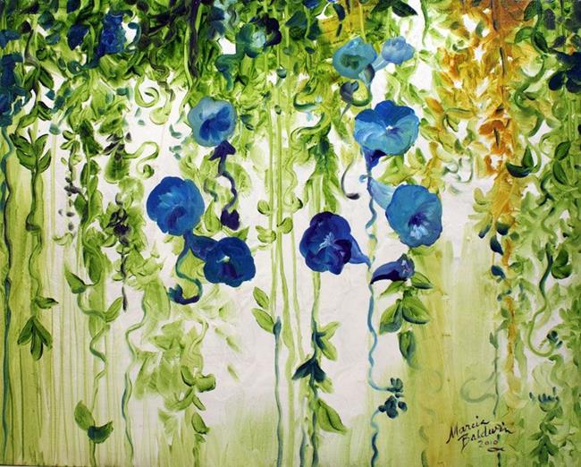 Art: MORNING GLORIES ABSTRACT by Artist Marcia Baldwin